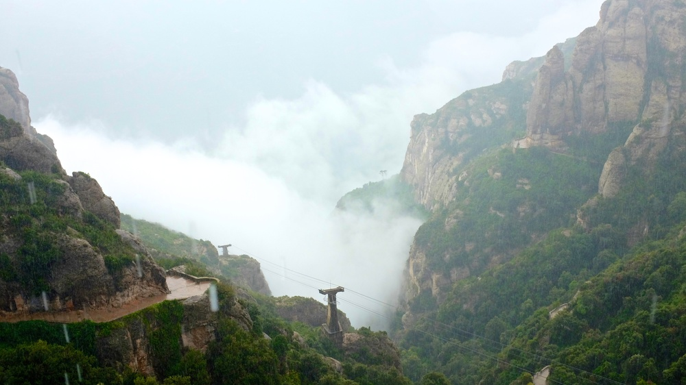 Views of Mountains at Monserrat on a very rainy day