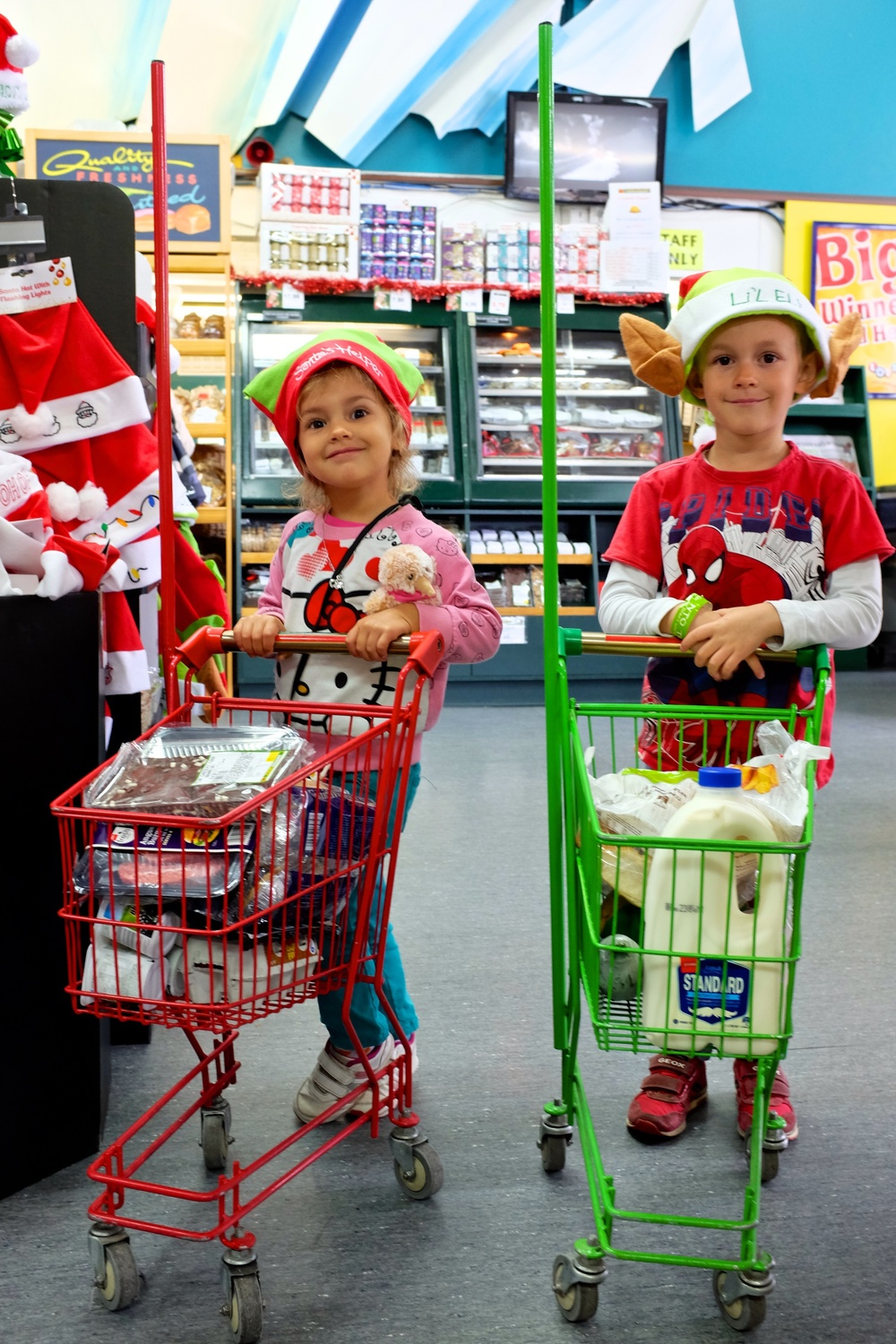 Helpful Elves With Little Carts