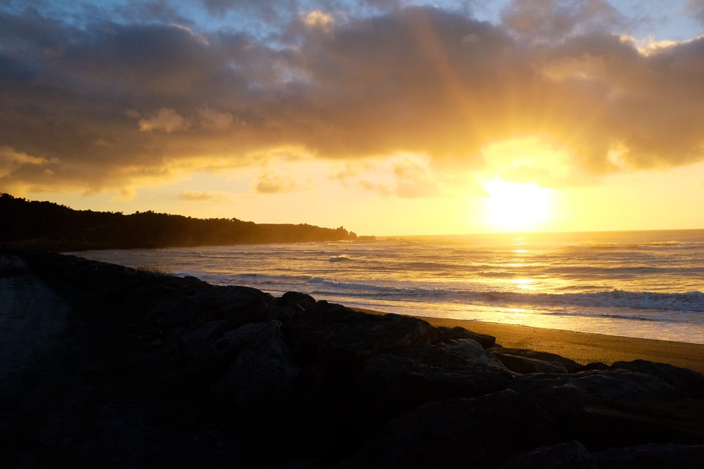 Sunset at Punakaiki Beach