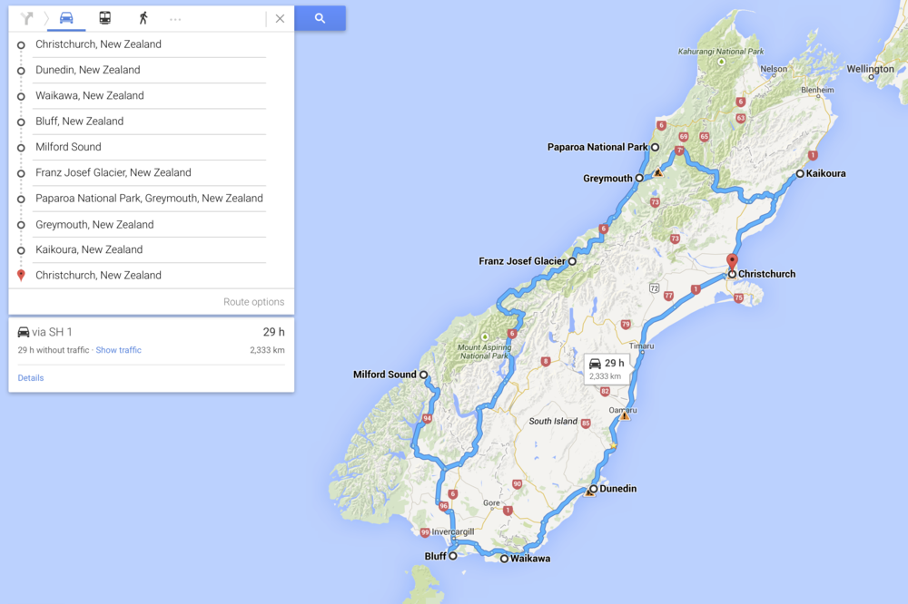 More or less, our circuit of New Zealand's South Island.  2300+km in 13 days!