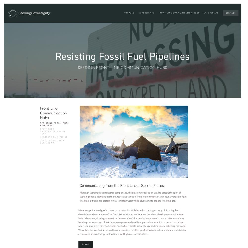 Website design. Program design. Original photography from Standing Rock.