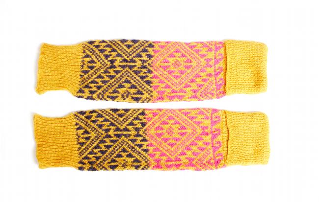 Hand Knit Mustard Eggplant Pink Leg Arm Warmer