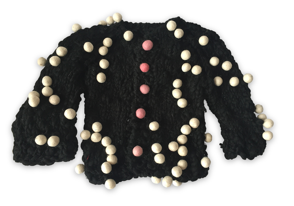 518ea85597 Hand-Knit Pom Pom Cardigan  Black with Ivory Pom Poms — Cabbages   Kings NY