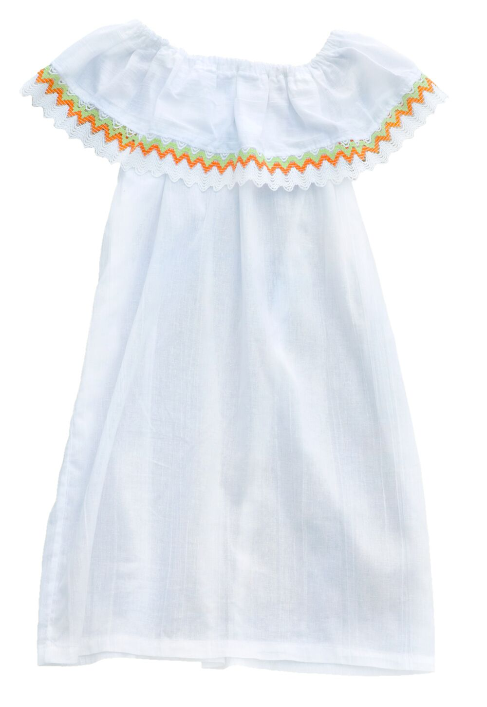 White Off The Shoulder Green Orange Cabbages And Kings Ny Kids Baby Cotton  Dress ...