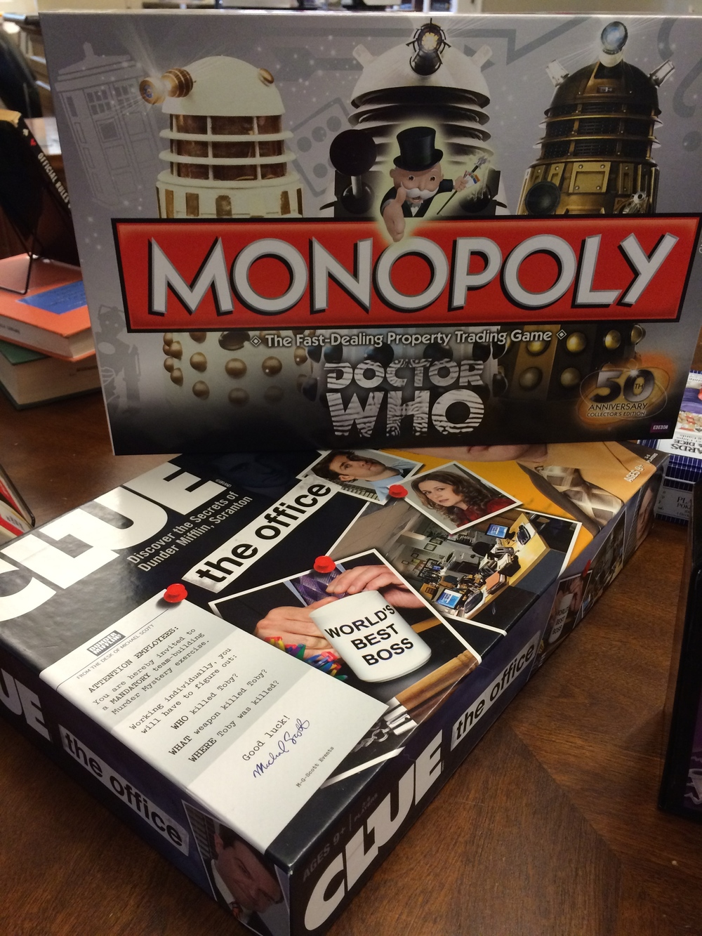 I brought in some games from my personal collection. One student (in a 10th Doctor shirt, no less) was EXTREMELY excited about Doctor Who Monopoly.