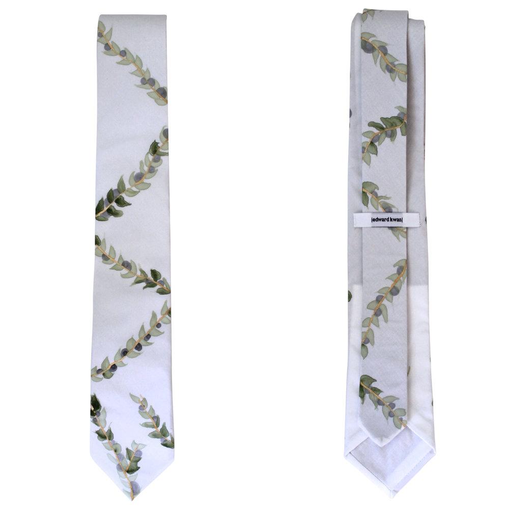 Olive hand painted necktie tie edward kwan melbourne front back.jpg