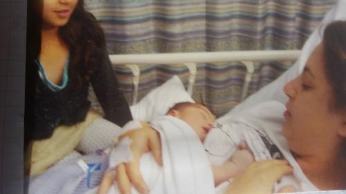 Vic with new baby Kiva