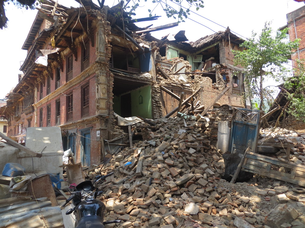 houses in ruins: a symbol of the present state of this beautiful country Nepal where people are crying day and night.