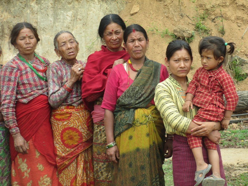 Hindu women lining up for food distribition at Dolakha