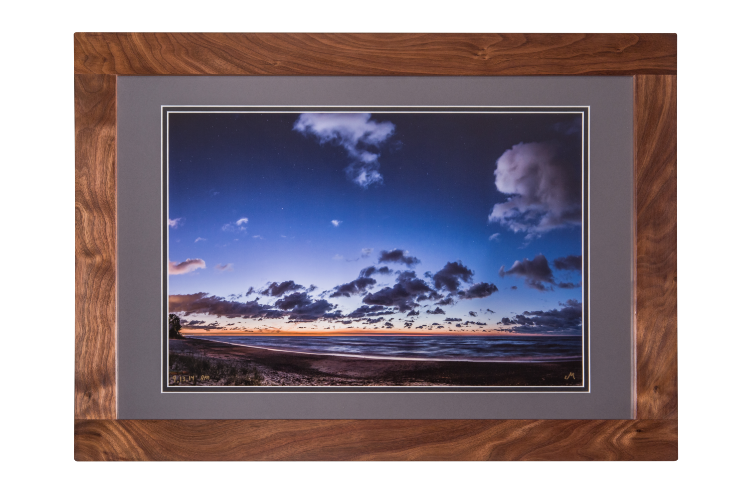 091314 8pm 15x225 Hand Crafted Walnut Frame Photography By