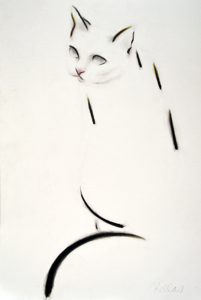 This drawing, 'Dash Cat', hangs in a home in Vancouver, Canada.