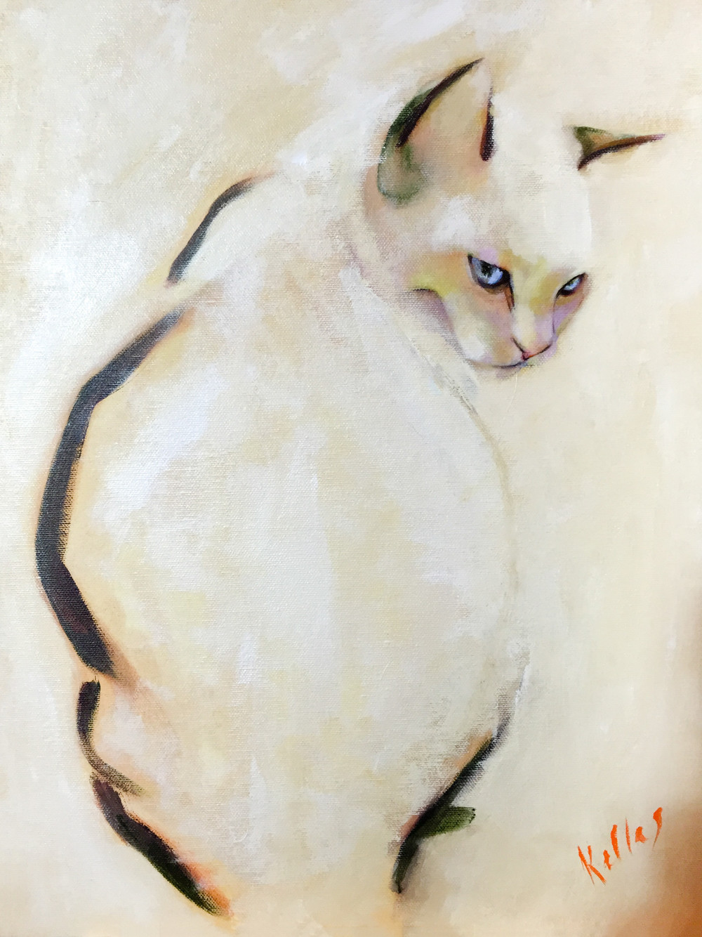 This painting of my cat now lives in Devon.