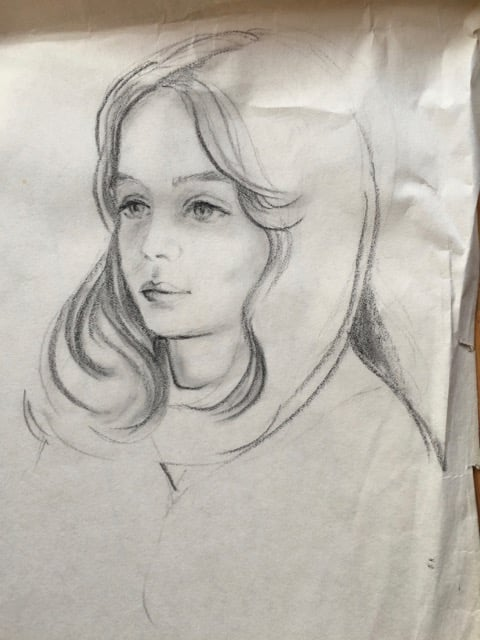 A sketch my mom did of me before my bowl cut!