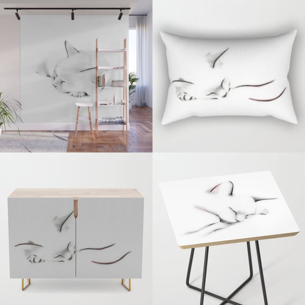 Stick-on wall mural, pillow, credenza and side table from the new furniture range