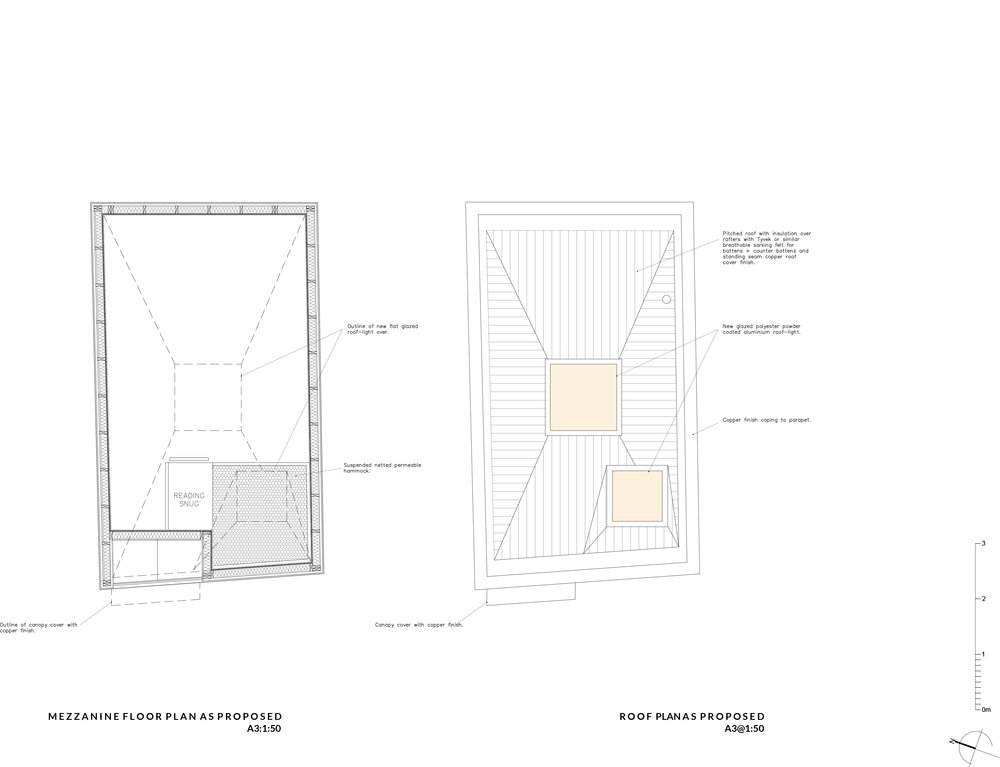 MEZZANINE + ROOF PLANS