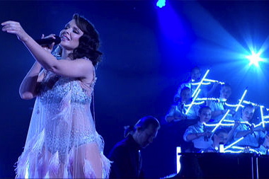 Performing with Kylie Minogue