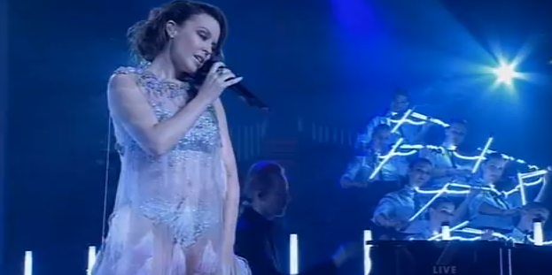 Airlie Koo's Australian Urban Orchestra performing with Kylie Minogue