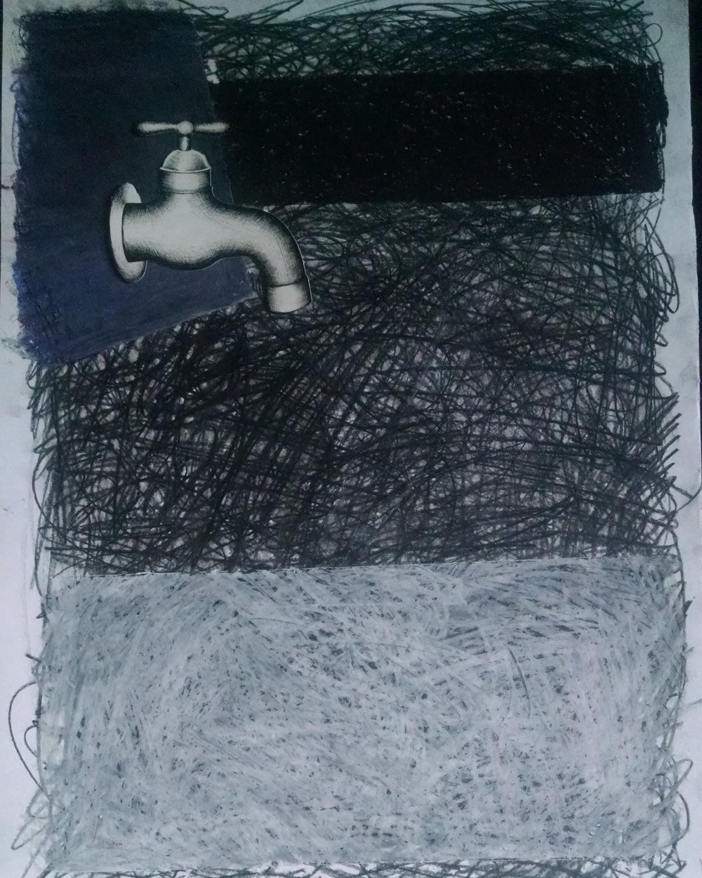 Drawing a faucet and collaging it on