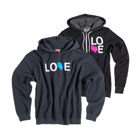 Love has options. From light to middle to heavy weight, from crews to zips to pullover hoods, we've got you covered in every kind of Michigan weather.