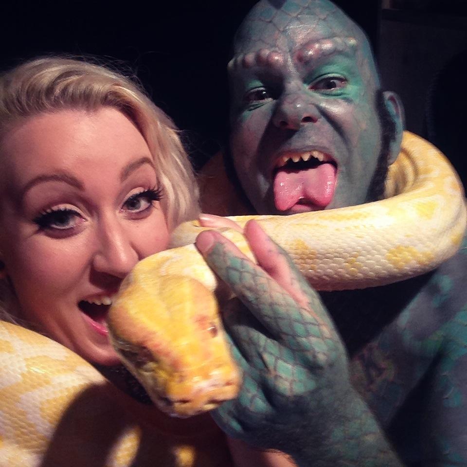 Daniella D'Ville, the Lizard Man and snake Tarzan