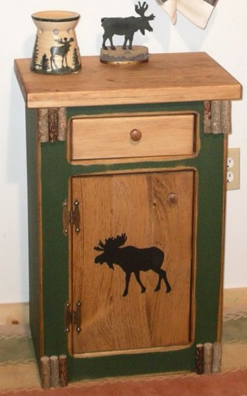 Merveilleux Woodland Moose Night Stand / End Table With Drawer