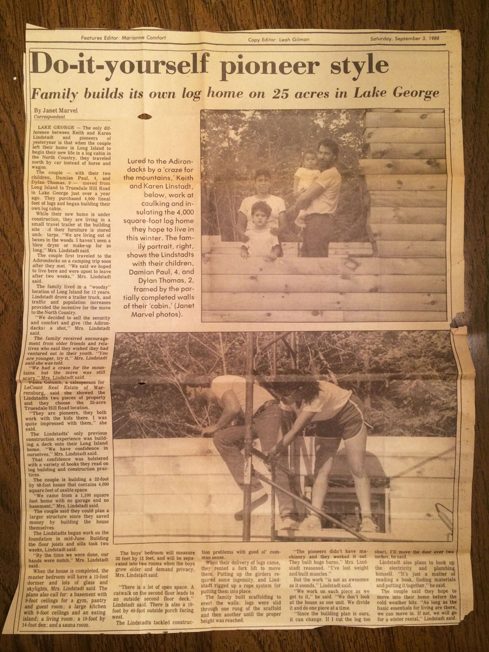 Building our home, one log at a time - 9/3/1988