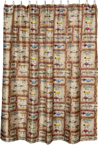 Cabin and Lodge Bath Decor — Antique Fishing Lures Shower Curtain ...
