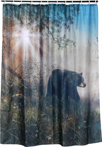 Cabin And Lodge Bath Decor Hautman Brothers Black Bear Shower Curtain Woodland Things