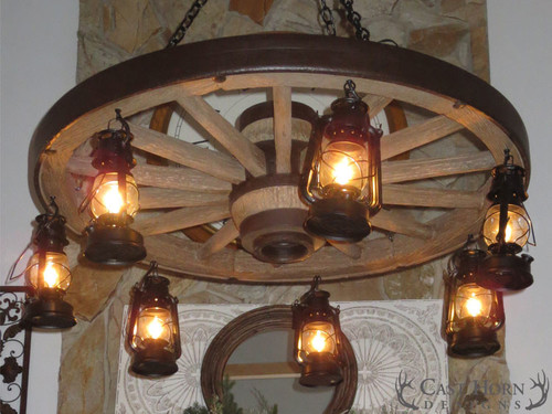Chandeliers large wagon wheel chandelier with lanterns woodland large wagon wheel chandelier with lanterns mozeypictures Choice Image