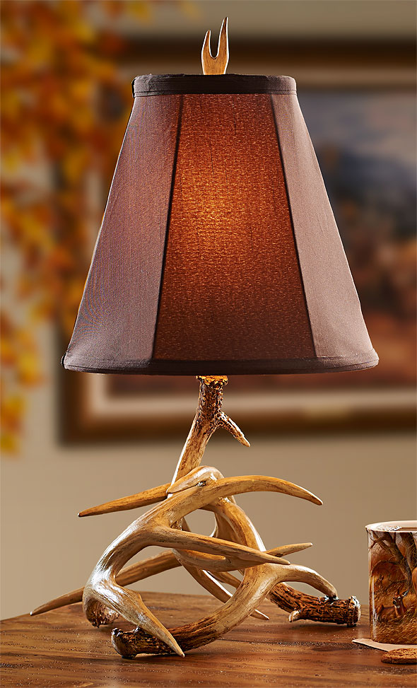 Lamps Antler Table Lamp Cocoa Shade Woodland Things