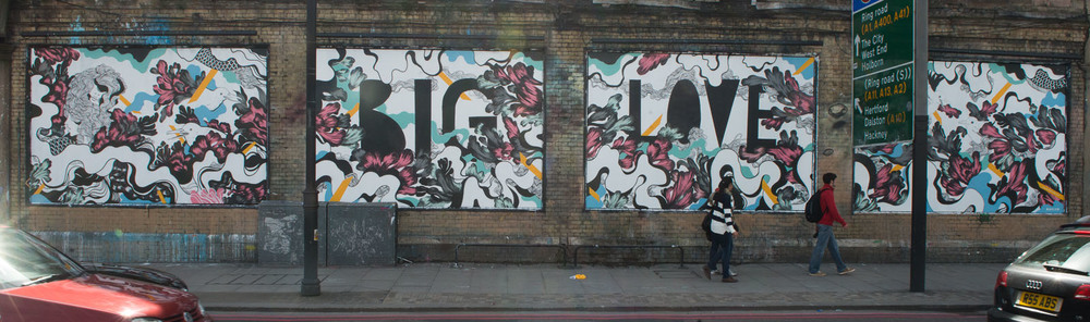 The Shoreditch Art Wall in action displaying a piece by Mateus Bailon.