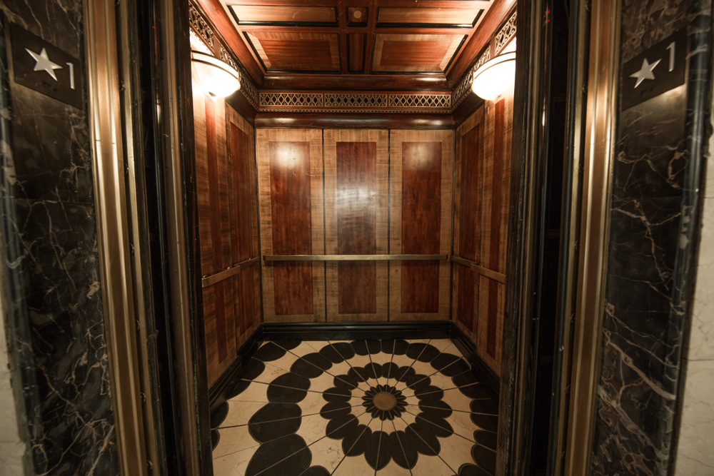The Collection 527 office space inside elevator with intricate decor