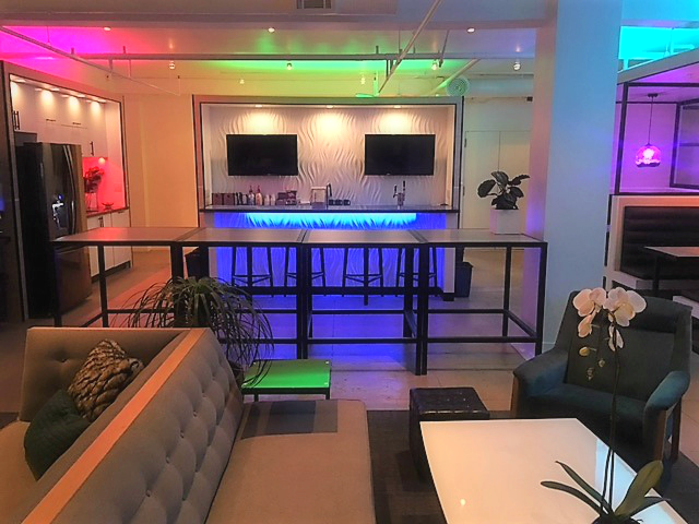 The Collection 527 Event space with multi colored lighting and audio visual equipment