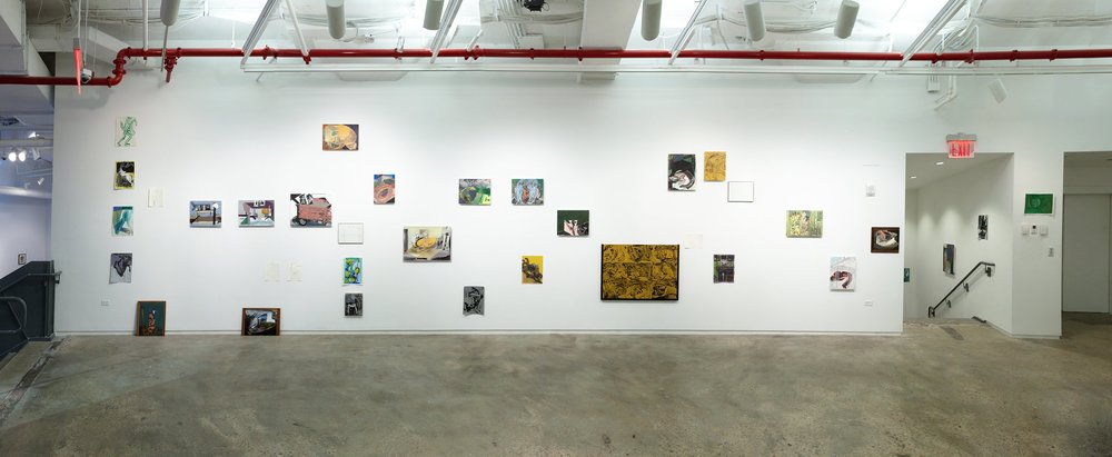 installation view of 'ordinary disorder', MFA Thesis Exhibition at 205 Hudson Street Galleries, 2016, various painting media, wall 64' x 11'      My thesis installation is keyed to my polyphonic painting practice, and unites 37 works that possess variations in scale, medium, content, and degree of abstraction. Oil paintings and watercolors are placed in relation to each other as if footnotes, to visualize linked directions explored through multiple works, and to suggest a multitude of parallel experiences within a network.      This cosmos is studded by paintings from my ongoing series Failed Metaphor: including Nine Plumes, Rough Draft and Ropes of Sand. In these a yellow oxide ground, similar to that used by Rubens or da Vinci, is coated with black water-soluble tempera. Using both brushes and my fingers to manipulate paint towards elegant resemblances, I then partially wash this fluid away to restore a sense of fleeting instability and simplification, like replacing a strong sound with its echo. In this act I refer to ideas of data decay, and of my own eroding memory.     My other panel and paper works begin like those of Failed Metaphor, with the finding of form through fluid tempera or watercolor. However I then work to ends of more layered meaning. For example, the surface of Follower Fox is lacy and evanescent, and this veil enshrines the memory of a fellow Boy Scout dressed in feathers that I knew as a boy, and who is now dead. This painting's comparative spatial complexity invites the viewer to another world. In this way, all my works are keyed pictorially and materially to the amount of metaphorical information they contain.