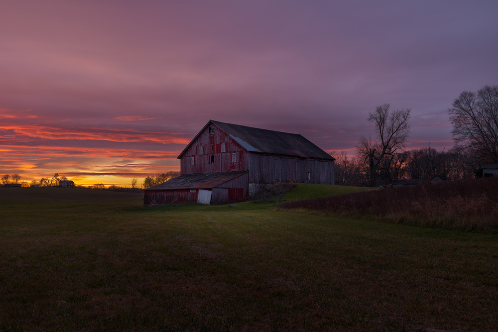 The Red Barn at Sunrise.
