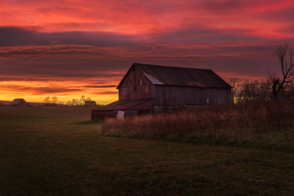 The Red Barn Glows in the Reds and Oranges of a Morning Sunrise.