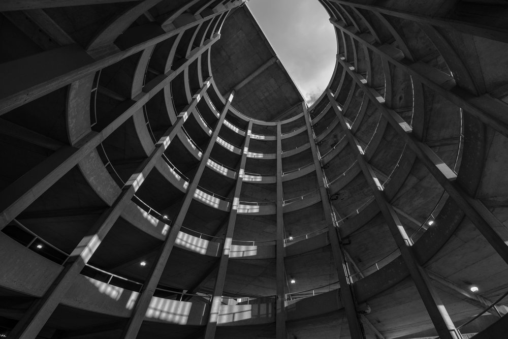 A spiral deck winds towards the sky. Fuji X-Pro 2 and a Fujinon 10-24mm f3.5.