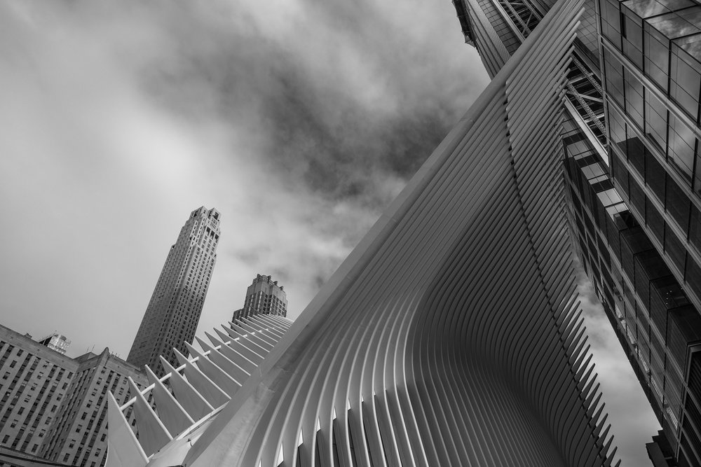 The Oculus from Street Level at the 9/11 Plaza. Acros NeoPan Film Emulation.