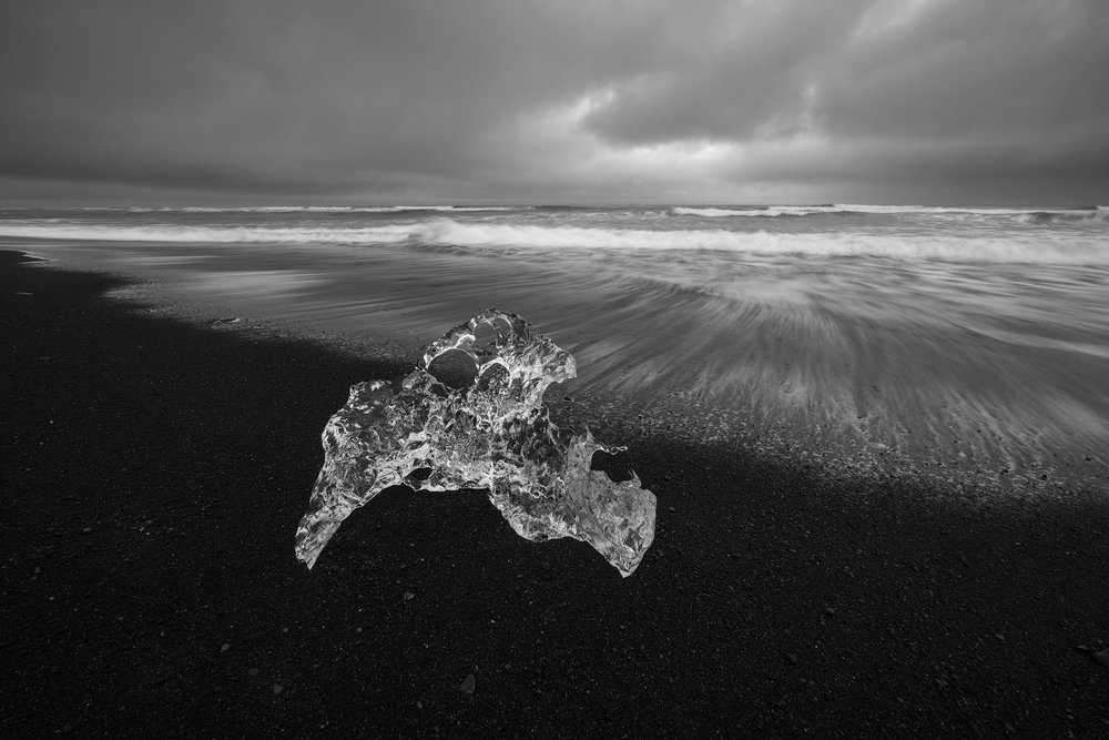 Sculpted Ice, Jölkusárlón Ice Beach, | Sony a7RII and a Voigtlander 15mm f4.5 Heliar III | Image Exposed at ISO 100 at f11 for 1 Second.