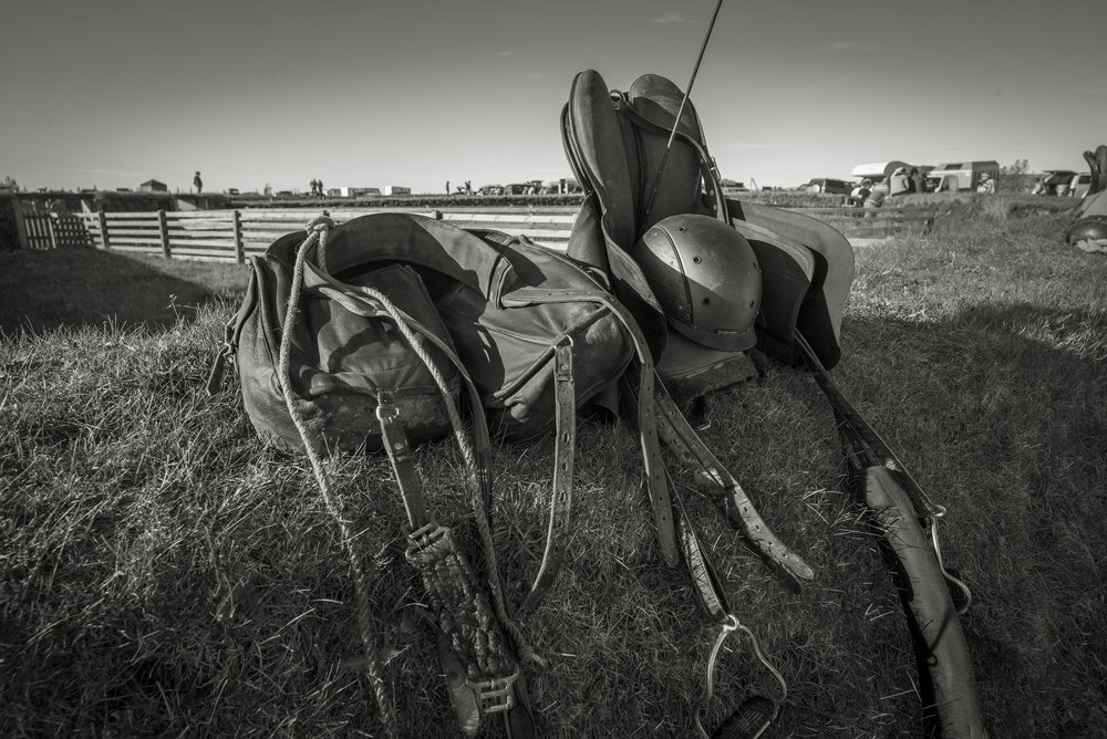 Saddle and saddle bags used on the long days in the highlands.