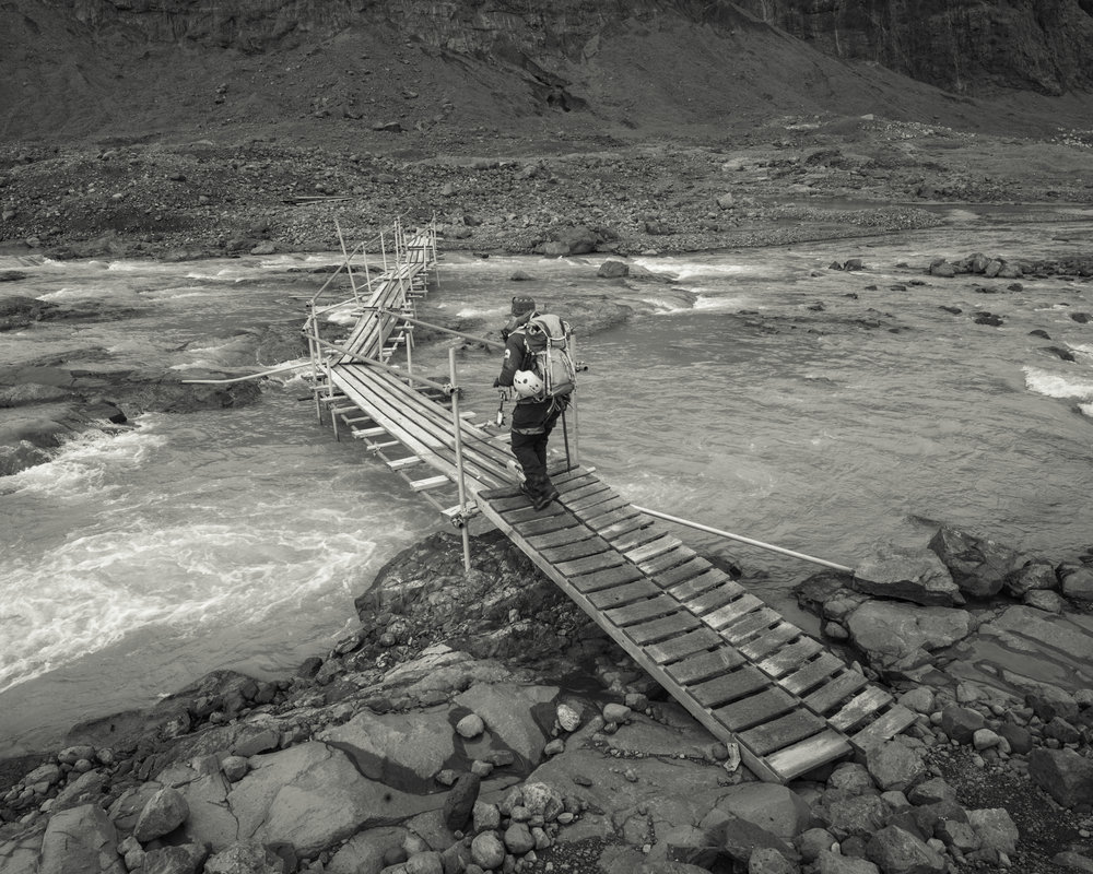 The makeshift river bridge, more like an elevated pontoon bridge, that can be relocated easily.