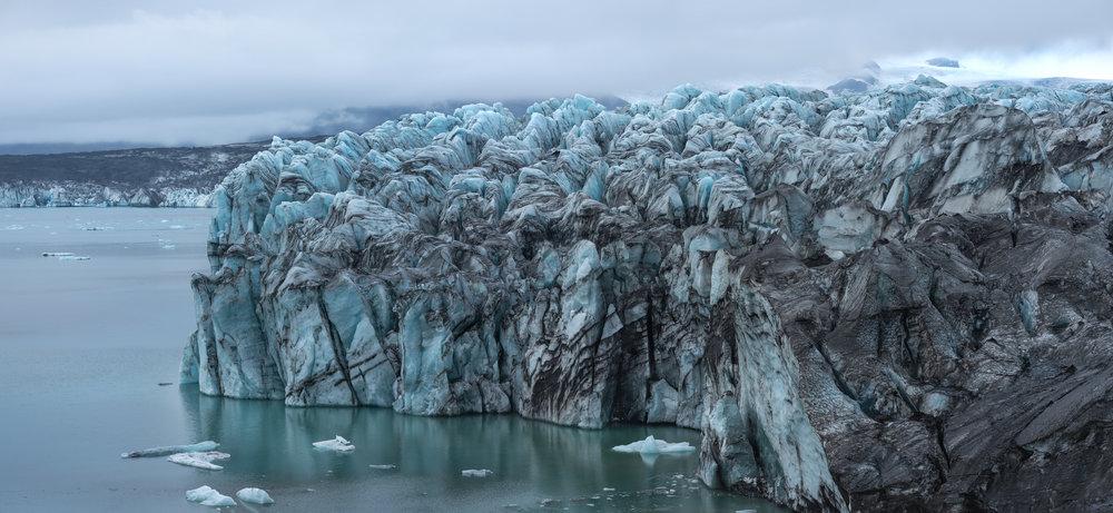 Ice calving site on Breiðamerkurjökull.