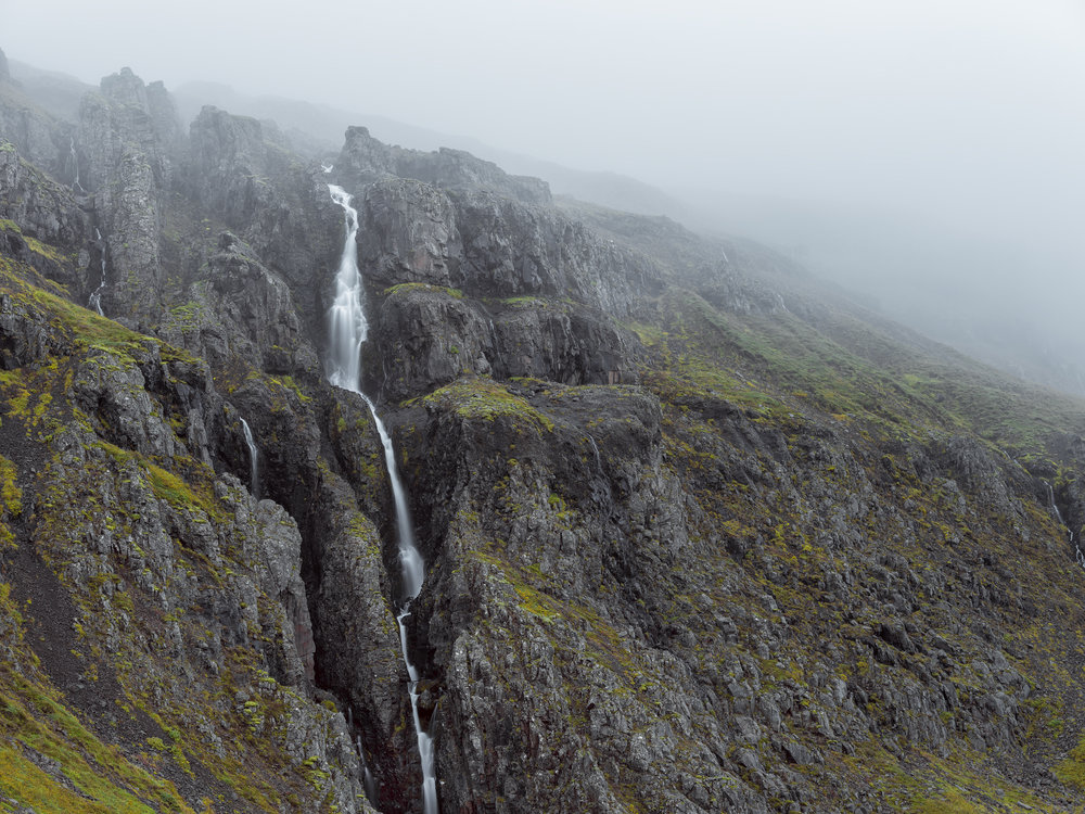 Foggy conditions and waterfall along F939.