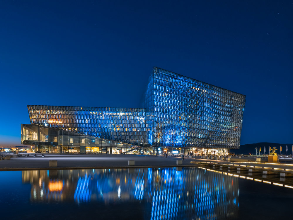 Blue light at the Harpa.