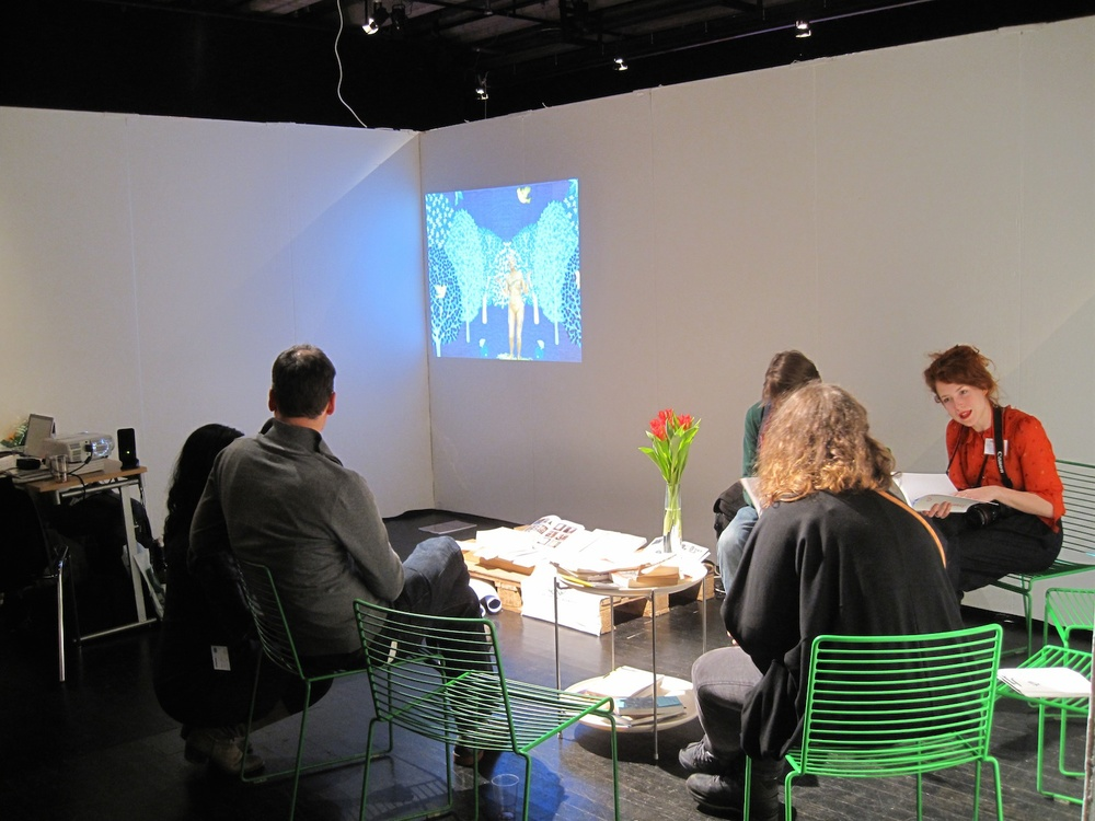 SYB's stand at Supermarket (works by Shana Moulton and Rory Pilgrim), Photo: Maja Bekan, Maritt S. Kuipers.