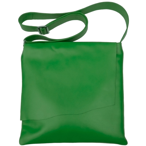Lg Emerald Green Leather Messenger Bag — MUSEUM OUTLETS