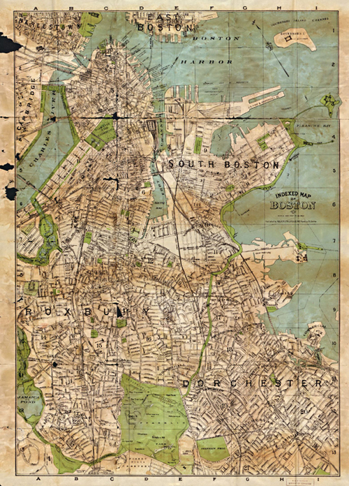 Antique Boston Map Reproduction Unique Wall Art Museum Outlets