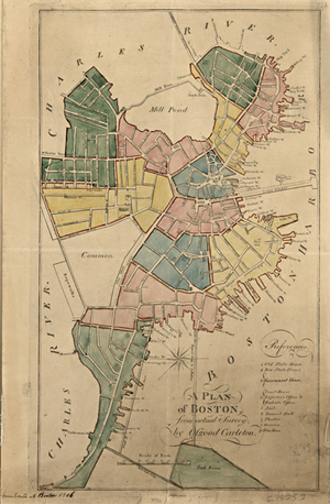 Antique Boston Map 1805 Reproduction Unique Wall Art Museum Outlets
