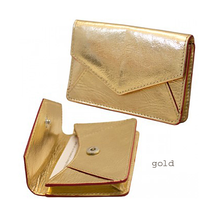gold leather business card holderjpg - Leather Business Card Holder