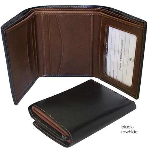 98b0e29b68ca Black & Rawhide Men's Leather Trifold Wallet — MUSEUM OUTLETS